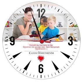 Kişiye Özel Canım Öğretmenim Cam Duvar Saati