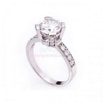 Gümüş Çok Taşlı Bayan Yüzüğü