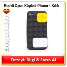 Renkli Oyun Küpleri iPhone 4 Kılıfı