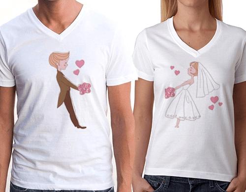Sevgililer için tişörtler