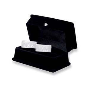 Kişiye Özel Gümüş Kaplama Dikdörtgen Kol Düğmesi