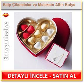 Kalp Çikolatalar Eşliğinde Meleksin Altın Kolye