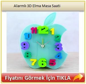 Alarmlı 3D Elma Masa Saati