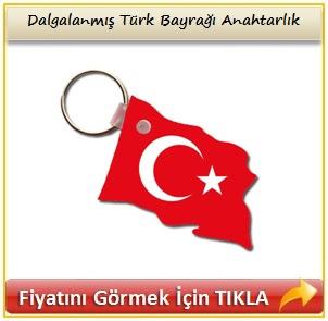 Dalgalanmış Türk Bayrağı Anahtarlık