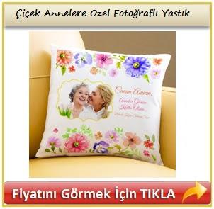Çiçek Annelere Özel Fotoğraflı Yastık