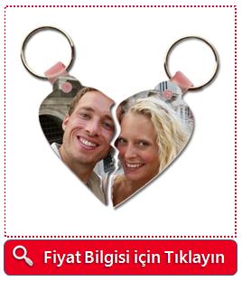 Ayrılabilen Çiftlere Özel Fotoğraflı Kalp Anahtarlık