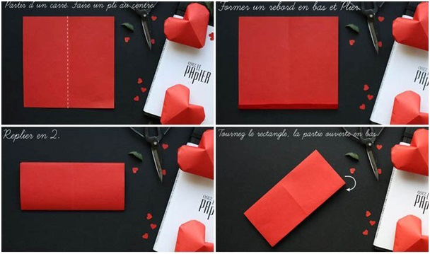 kağıtlardan origami kalp yapımı