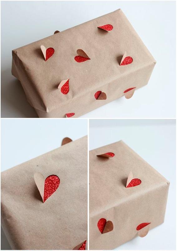 Kalp Desenli Hediye Paketi